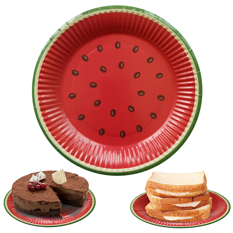 10pcs Red Watermelon Disposable Plates Birthday Party Plate Cake Tray Tableware Supplies