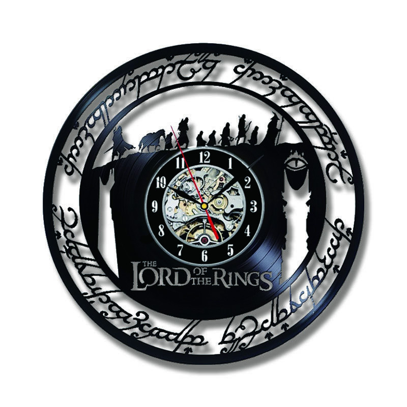 2019 Limited Klok Vintage Wall Clock Design The Lord Of Rings Theme Vinyl Record Clocks Hanging Watch Home Decor Silent 12 Inch