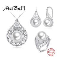 MeiBaPJ Promise High Quality 4A Natural Freshwater Pearl Jewelry Sets For Women Genuine 925 Sterling
