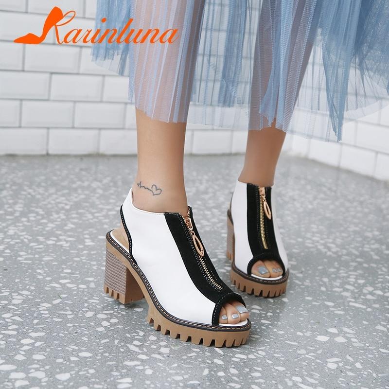 KARINLUNA Peep Toe Zip High Heels Summer Sandals Woman Shoes Party Sandals Woman Shoes Women Large Size 34 43
