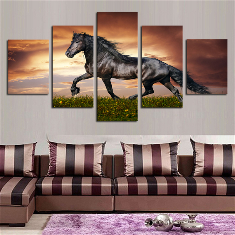 5pcs Wall Art Black Friesian Running Horse Trot on the Field on Sunset Grass and Flower Painting on Canvas Animal the Picture