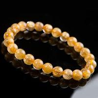 Free Shipping 8mm Natural Brazil Gold Hair Rutilated Quartz Beads Wealth Bracelet AAA