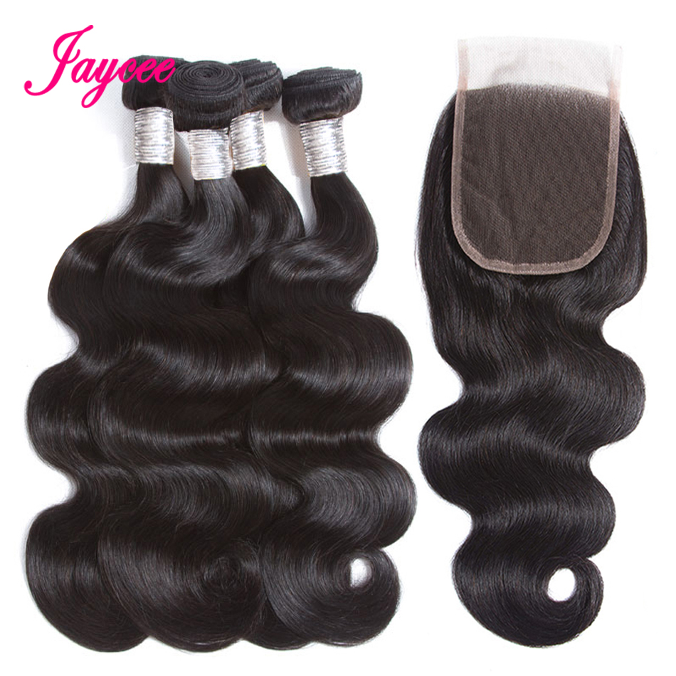 Jaycee Hair Brazilian Body Wave Hair Extensions with Closure Remy Human Hair Weave Bundles with Closure 4*4 Natural Color