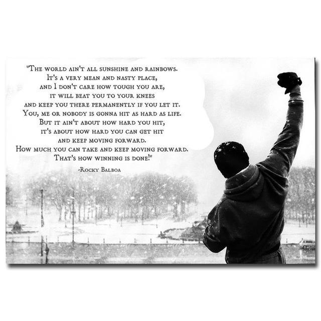 Berühmte Rocky Balboa Motivation Zitate Kunst Leinwand Malerei Große