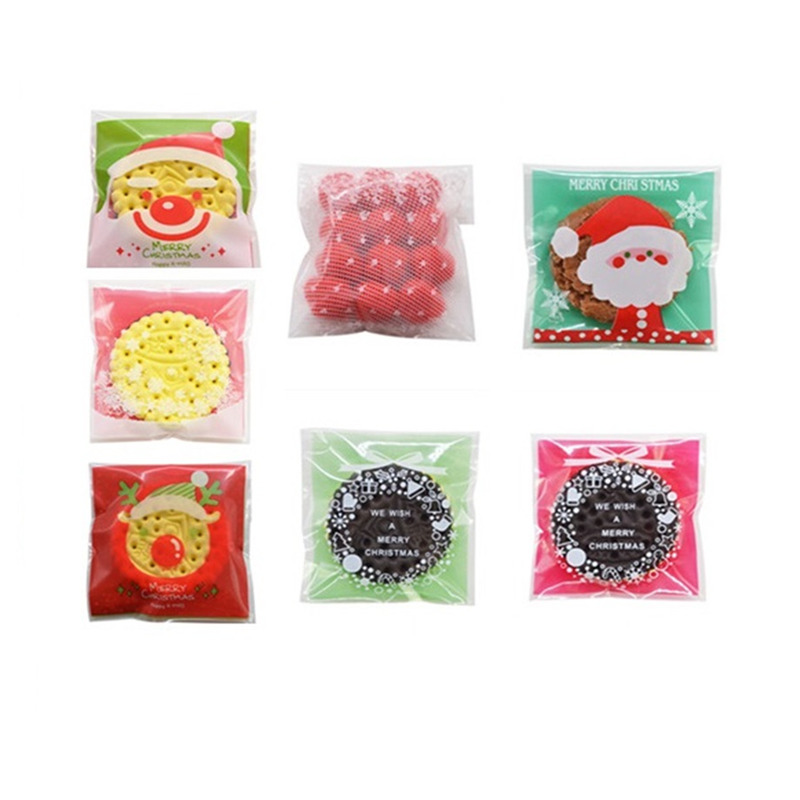 100pcs/lot Xms Gift Bags Christmas Santa Claus Snowman Snacks Cookie Plastic Packaging Bags Party Wedding Candy Bag Kids Favor