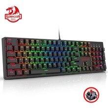 Redragon K582 SURARA Механическая игровая клавиатура RGB светодиодный с подсветкой 104 клавиши из ABS-линейный тихий красный переключатель проводной для Dota Gamer