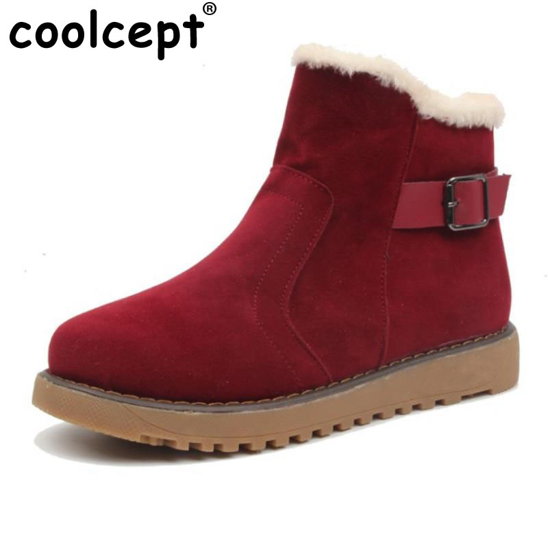 Coolcept Winter Shoes Women Thick Fur Ankle Snow Boots Women  Buckle Strap Zip Boots Female Warm With Flats Botas Size 35-39