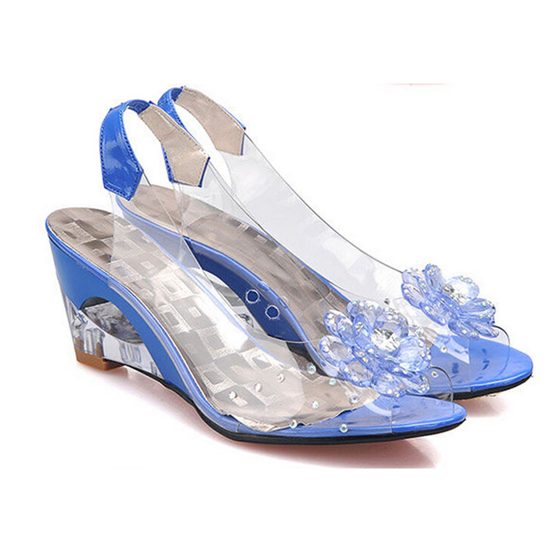Nice New Summer Sandals Women Peep Toe Wedge Sandals With Flowers Sweet Jelly Shoes Woman Shoes For Lady's Size Plus 25-62 P5d11