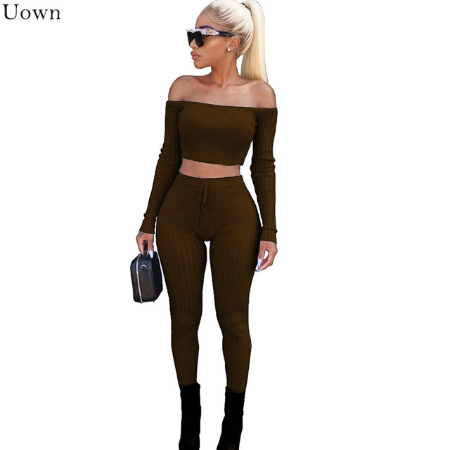 71cdfddb1d4662 Kintted Off Shoulder Two Pieces Set Women Long Sleeve Crop Tops and Slim  Pants Sweat Suits