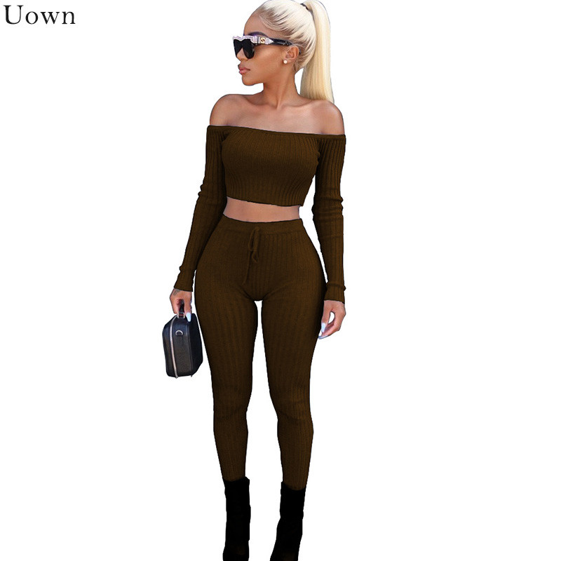 Kintted Off Shoulder Two Pieces Set Women Long Sleeve Crop Tops and Slim Pants Sweat Suits Clubwear Bodycon 2 Piece Outfits