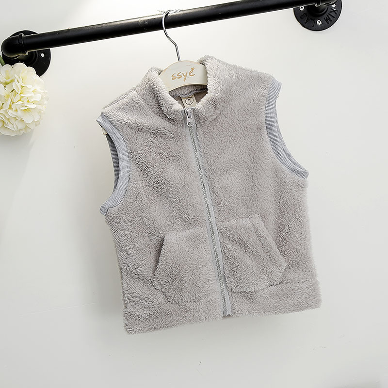 baby girls faux fur vest kids solid zipper o-neck fleece thick clothes toddler kids clothing children winter vest outwear 2-7T