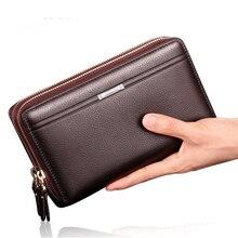 Luxury Brand Business Long Men Wallets PU Leather Clutch Purse Men Handy Bag Carteira Brown Black Top Double Zipper Large Wallet
