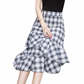 986fb354e Long Plaid Skirts for women Spring Autumn Fashion Korean Skirt High—Free  Shipping