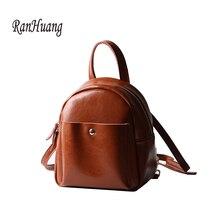 Ranhuang 2017 женщины маленький рюкзак высокое качество Натуральная кожа рюкзак женская винтажная рюкзак школьные сумки для девочек-подростков