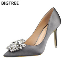 BIGTREE Women Pumps Bling High Heels Women Pumps Glitter High Heel Shoes Woman Sexy Wedding Shoes Gold Silver все цены