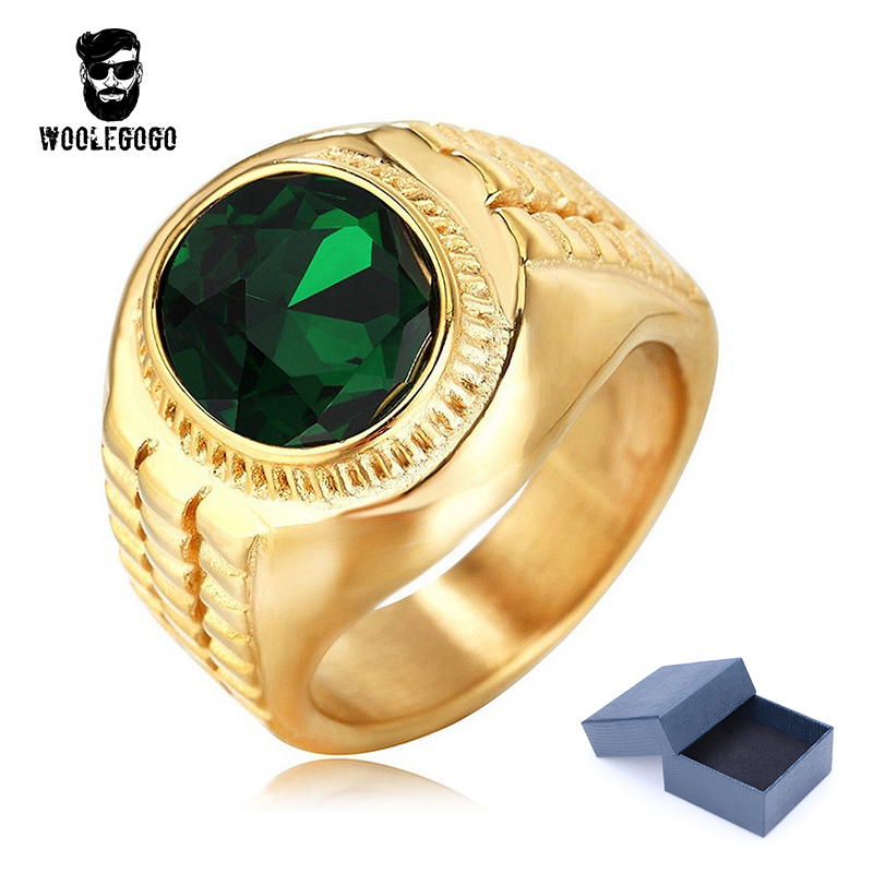 Round Gold Gem CZ Ring Men Stainless Steel Vintage Green Stone Rings Mens Jewelry Cubic  ...