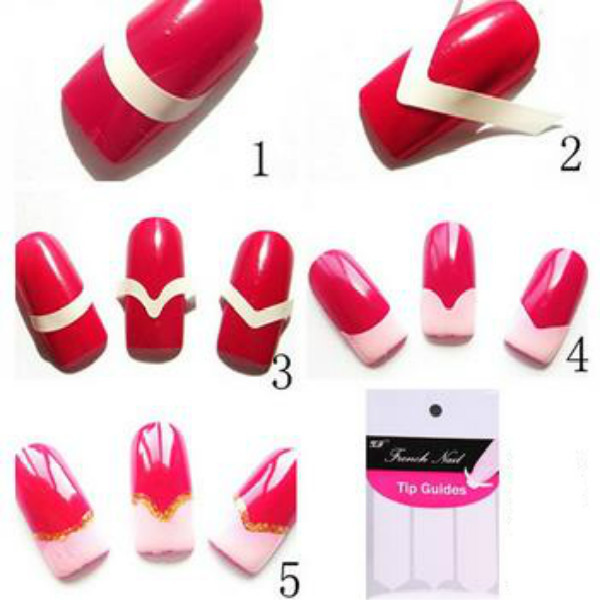 Fashion Different Designs French Smile Easy Beauty DIY Nails - How to make nail decals at homemake nail art stickers home nail art ideas