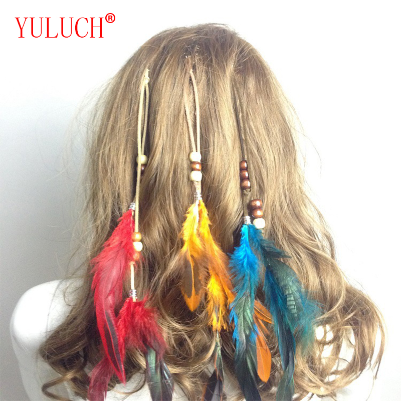 YULUCH 2018 Fashion Woman False Headdress Indian Handmade Feather Hair Accessories BB Holder Tassel Mussel Hairpiece Gift