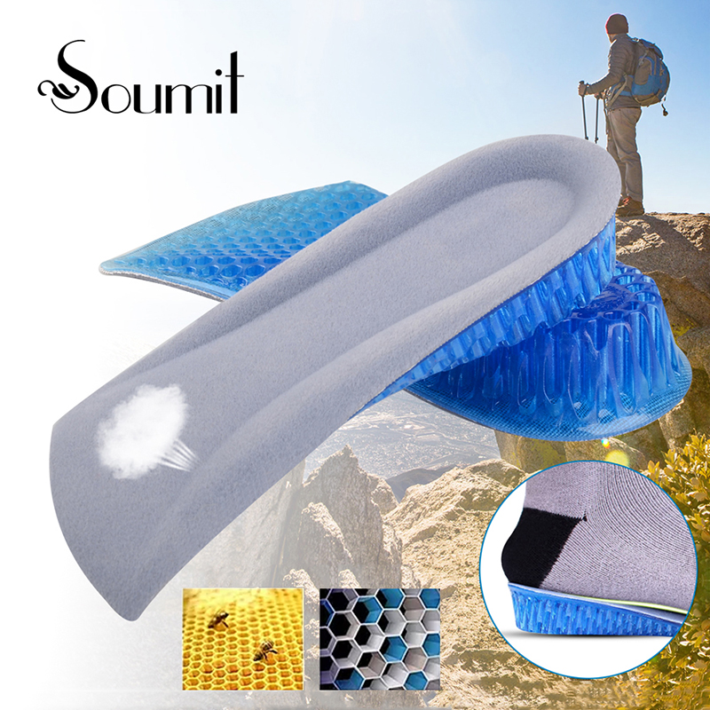 Soumit Unisex Gel Insole silikon Insole untuk Kasut Bernafas Berlengan Sapi Heel Spur Insoles Cushion Height Increase Insole