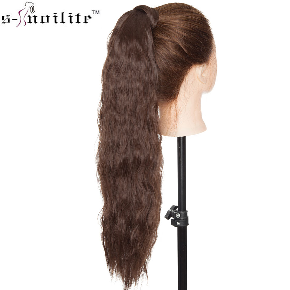 SNOILITE 20inch Long Corn Wave Clip In Ponytail Hair Extensions Yaki Style Wrap Around Tail Hair Synthetic Hairpiece For Women