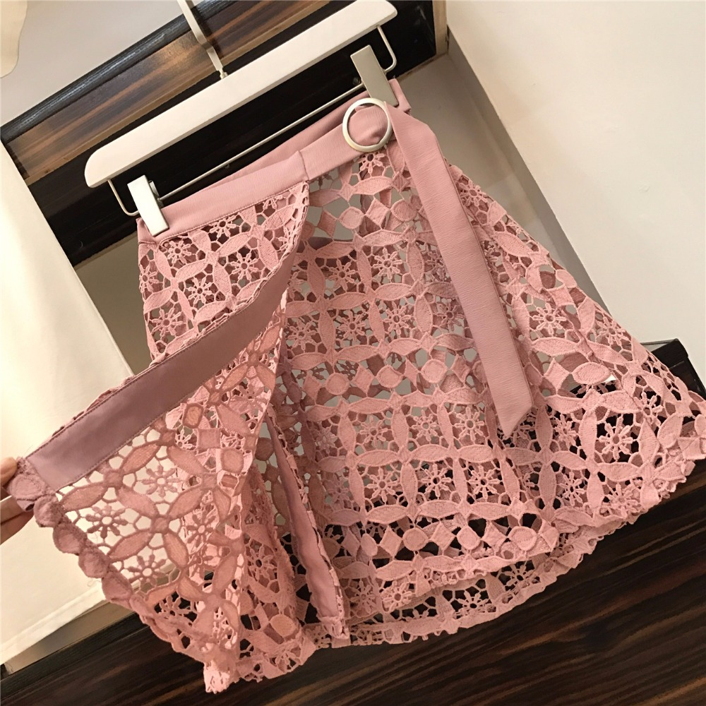 2019 Spring Summer Women Fashion 2 Piece Suit Slash Collar Off Shoulder Long T Shirt & Hollow Out Lace Skirt Suits Skirts Set #6