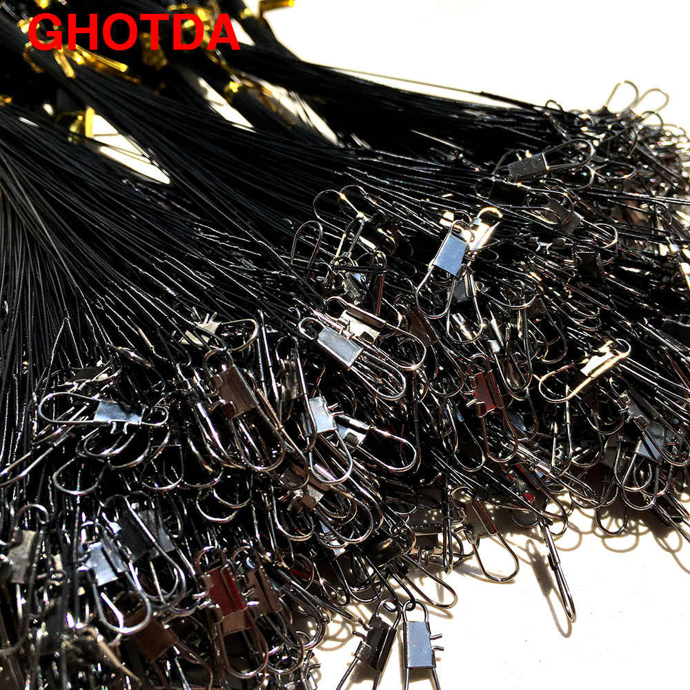 20 قطعة/الوحدة خيط صنارة الصيد سلك زعيم Tippet مع تدور قطب موصل إغراء الأخضر/الأسود