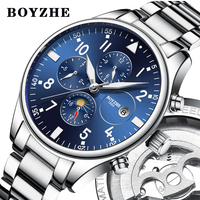 BOYZHE 2018 New Men Automatic Mechanical Watch Stainless Steel Fashion Luxury Brand Military Waterproof Business Sports Watches