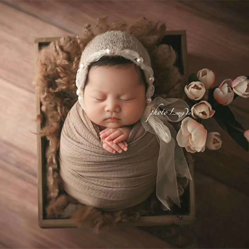 Lace Accent Bonnet Newborn photography props Baby Girl Knitted hat Ivory Mohair Newborn Hat Vintage Baby Hat
