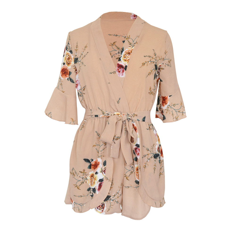 2018 Summer Beach Playsuit Romper One Piece Women Floral Print Casual Sexy White New Arrival Middle Flare Sleeve Lady Playsuits 13