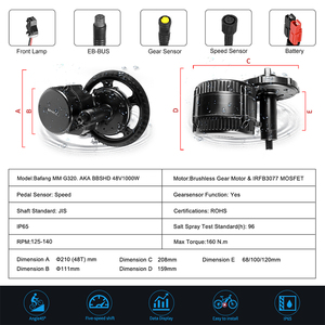 Image 2 - Mid Drive Motor Universal 48V 52V 1000W 120mm Bafang 8Fun BBS03 BBSHD Electric Bike Conversion Kit Powerful eBike Part