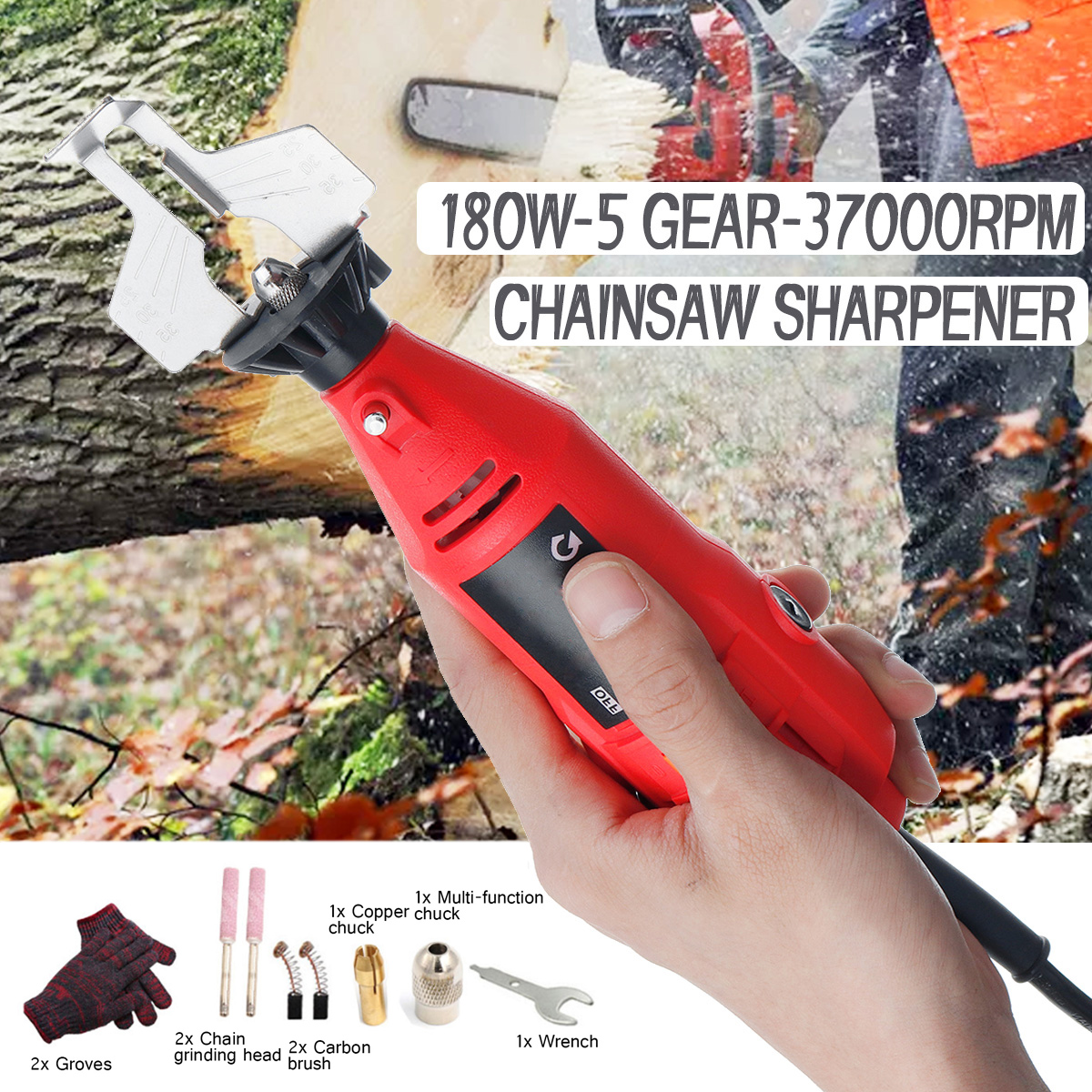 180W 5 Gears Chain Saw Grinding Machine Sharpener Chainsaw Electric Mini Handheld Grinder File Milling Machines Tools Set