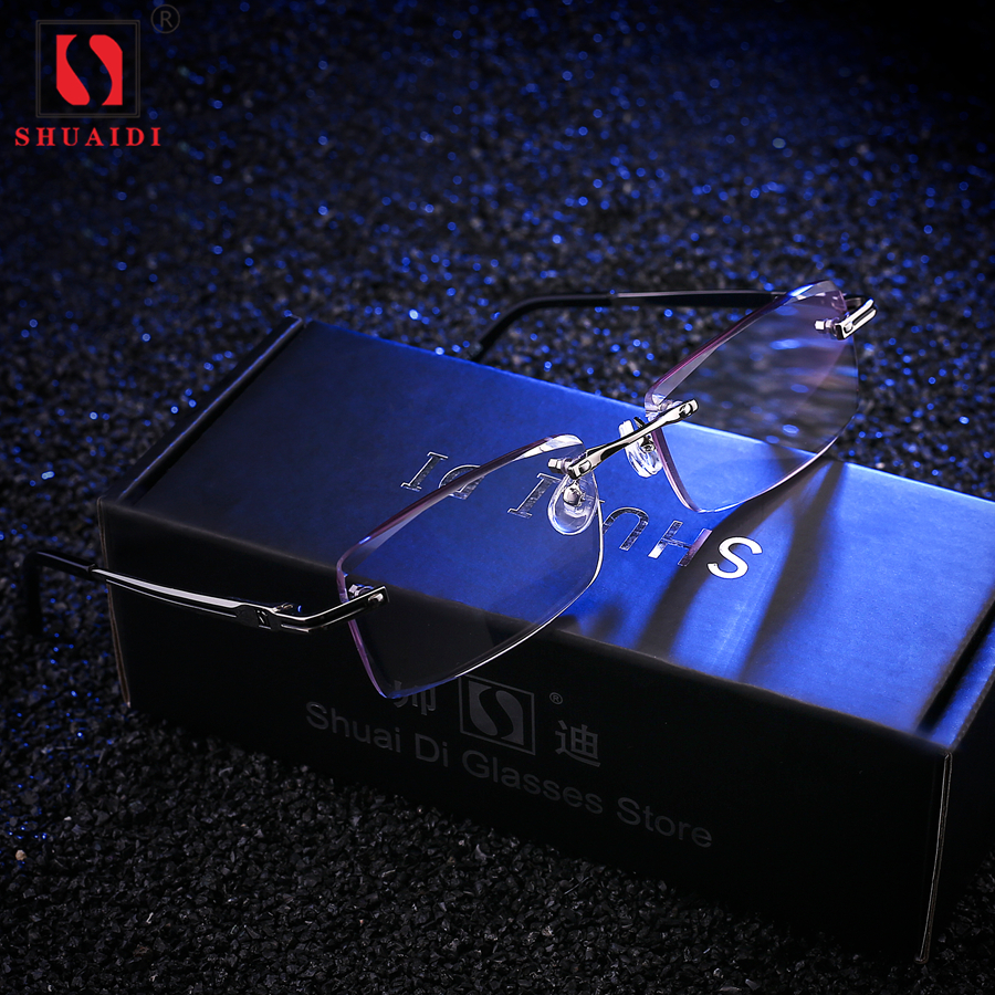 6ab98db46759 Men Rimless Glasses Reading Male Eyeglasses Readers Anti Fatigue Gray  Lenses Presbyopic Glasses 1.0 1.5 2.0 2.5 3.0 Diopter