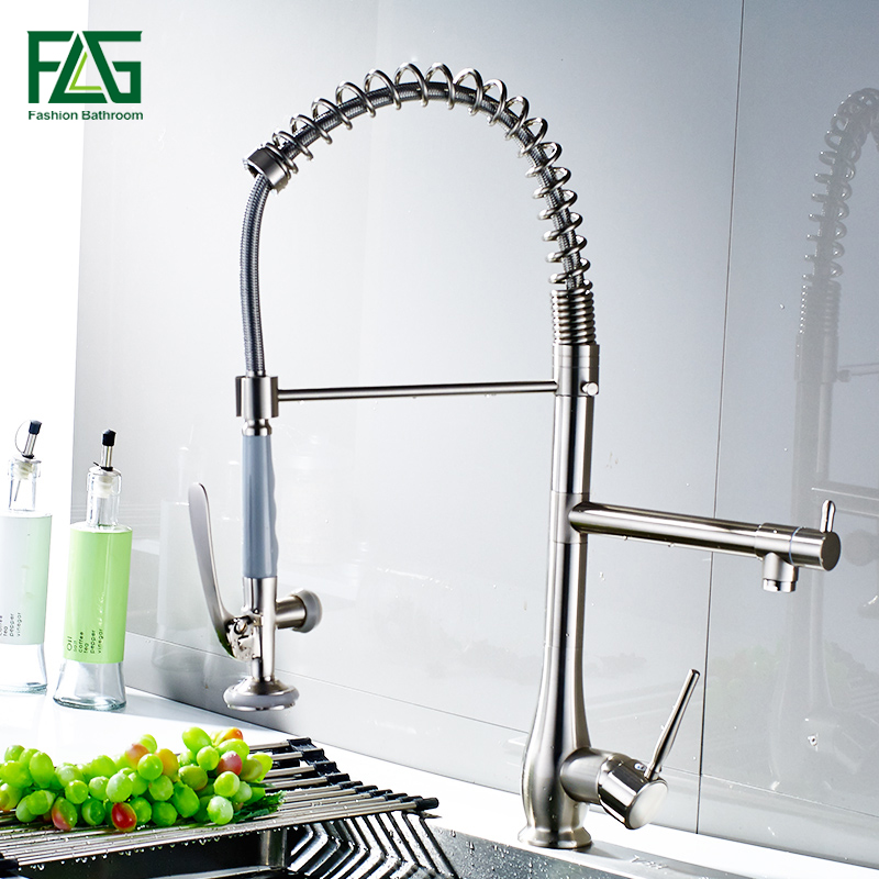 FLG Spring Style Nickel Brushed Kitchen Faucets Mixer Dual Spray Swivel Spout Rotatable Hot Cold Faucet Sink Mixer Tap 192-33N