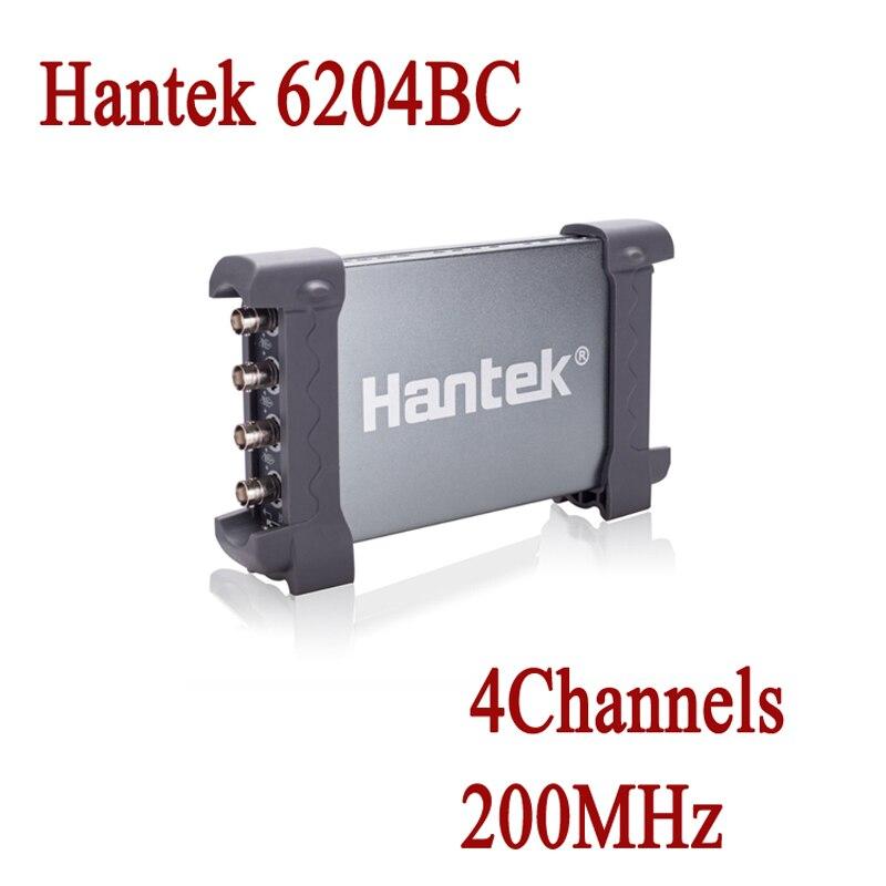 Handheld Digital Oscilloscope Portable Hantek 6204BC 200MHz 4 Channels Osciloscopio Automotriz PC USB Oscilloscopes Car-detector hantek dso5202p digital oscilloscope 200mhz bandwidth 2 channels pc usb lcd portable osciloscopio portatil electrical tools
