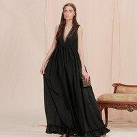 [AIGYPTOS-LISAYU] Original Thiết Kế Nữ Mùa Hè Cổ Điển Thanh Lịch Mỏng Sâu V-Cổ Tay Ruffles Loose Cotton Màu Đen Maxi Dress