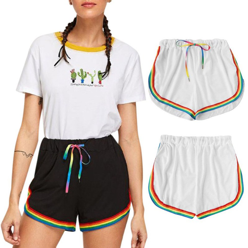 New Summer Casua Short Women l Trousers Elastic High Waist Loose Rainbow Color Stitching Shorts Workout Waistband Skinny Short