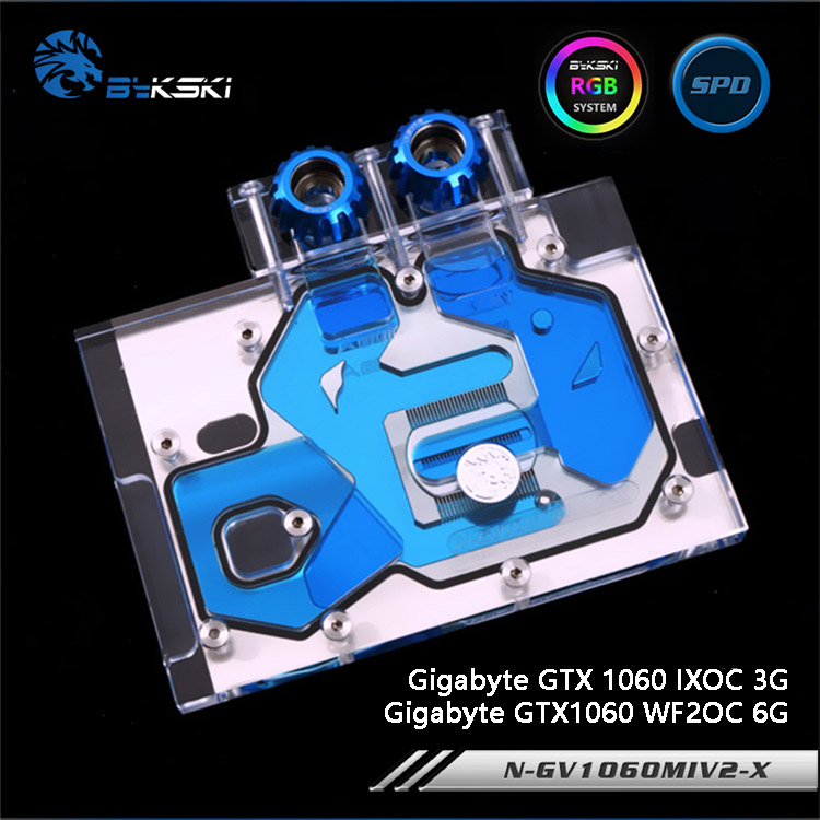Bykski N-GV1060MIV2-X Full Cover Graphics Card Water Cooling Block RGB/RBW/ARUA for Gigabyte GTX1060WF2OC/GTX1060 IXOC bykski n ms1060dark x full cover graphics card water cooling block rgb rbw aura for msi geforce gtx1060 6g duke