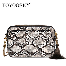 TOYOOSKY Snake Flap Bag For Women Fashion Shoulder Bag Small Chain Messenger Crossbody Bag Serpentine Leather Crossbody Bag colorblock flap chain crossbody bag