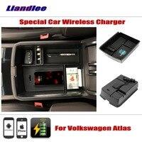 Liandlee для Volkswagen VW Atlas 2018 ~ 2017 специальный автомобиль беспроводной зарядное устройство подлокотник хранения iPhone телефона Android батарея зарядно