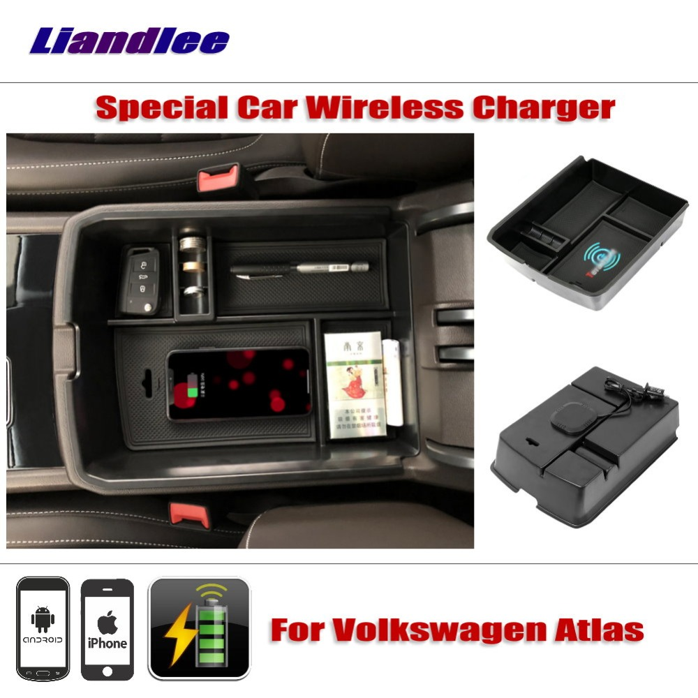 Liandlee For Volkswagen VW Atlas 2017~2018 Special Car Wireless Charger Armrest Storage For iPhone Android Phone Battery Charger