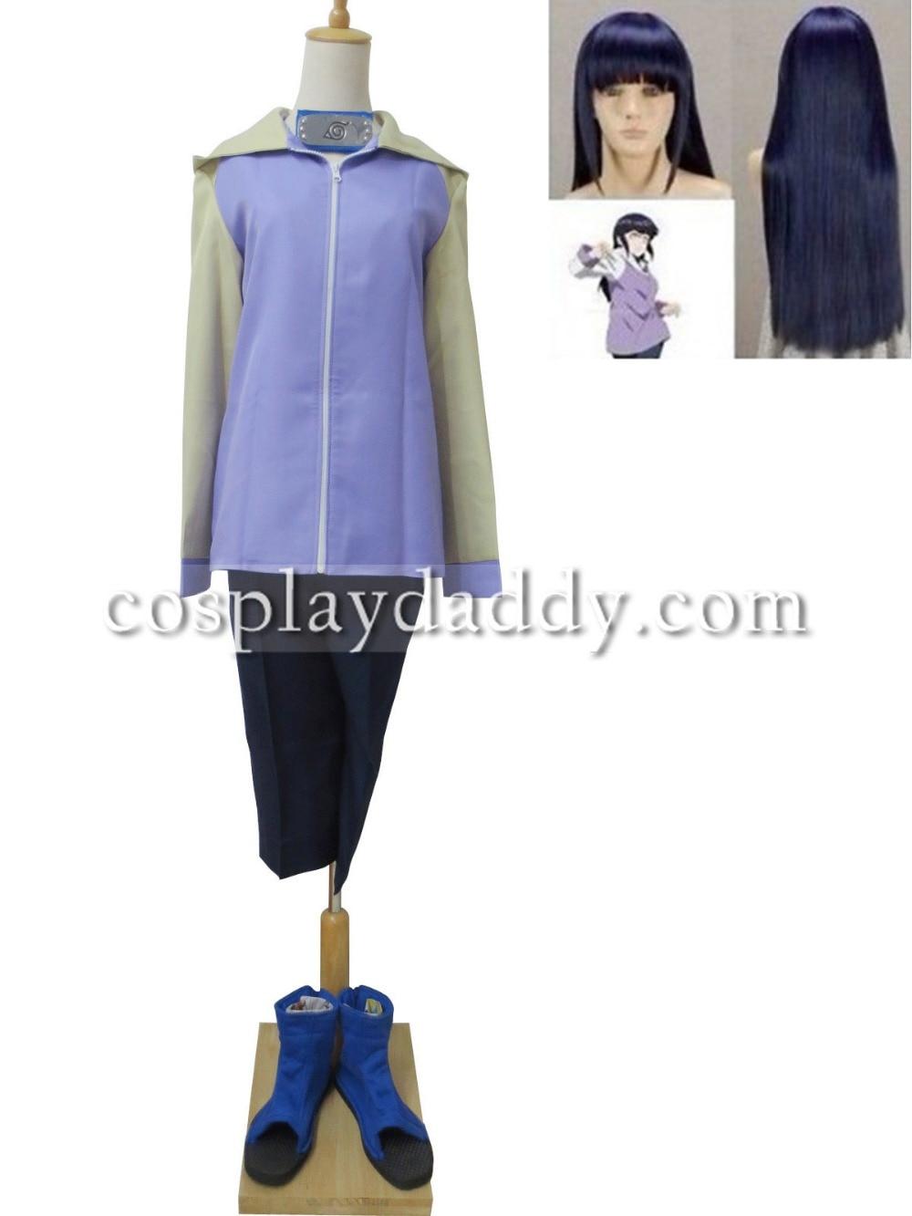 Naruto Shippuden Hinata Hyuga Cosplay Costume Outfit+Wig+bag+shoes+Prop+headband