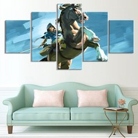 Frame Painting Abstract Art 5 Panel Animal Horse And Cartoon Character Wall Picture For Living Room