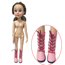 1Pair Pink PU Leather Dolls Boots For BJD 1 4 16inch Dolls Fit 43cm SD 60cm
