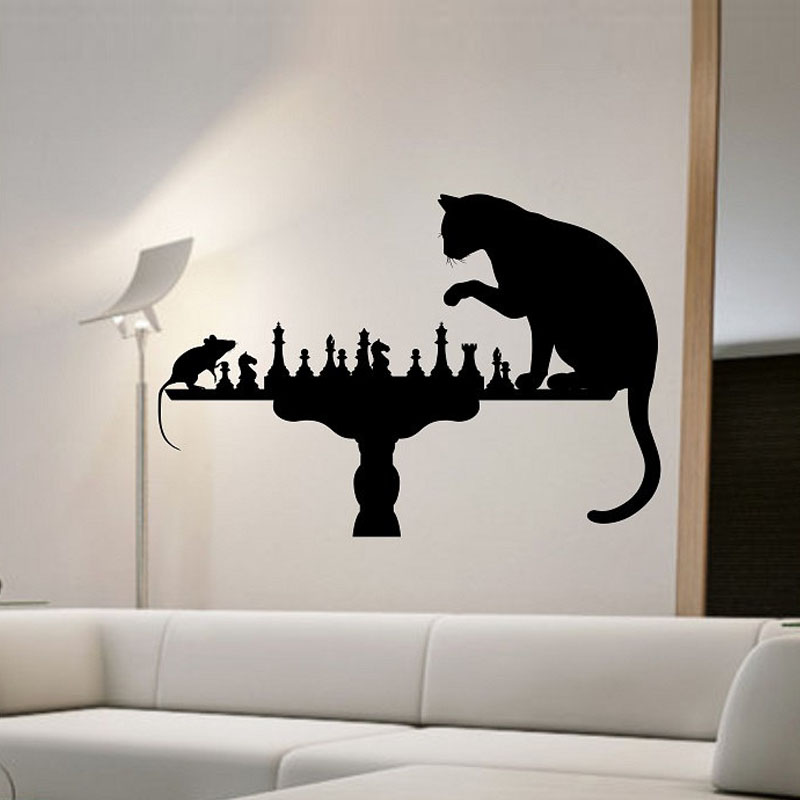Cat playing chess with mouse wall stickers home decor for Stickers de pared