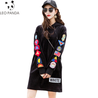 2019 new Autumn Women casual Sweatshirts Embroidery Hooded VELOUR Hoodies female Cartoon Letter Pullovers Long Sweatshirts WHF79