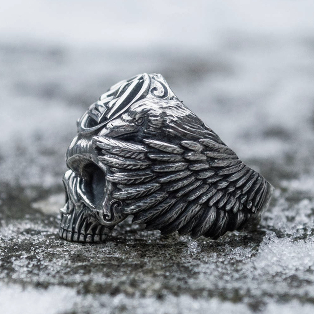 Odin with raven biker ring