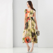 Summer Dress 2017 Runway Womens Fashion Floral Print Dress British Style Hi Q Casual Short Sleeve