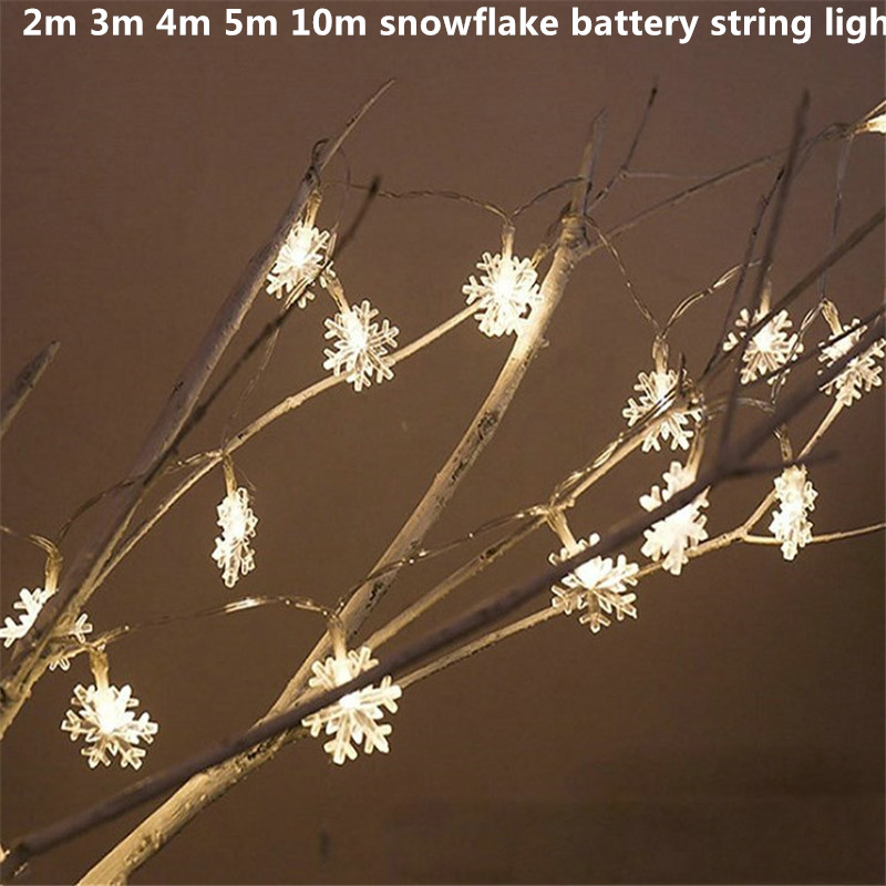 2m 3m 4m 5m 10m snowflake 3AA battery led string lights Operated holiday decoration lamp Festival Christmas outdoor lighting