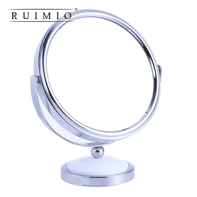 Tabletop Vanity Mirror Double-Sided Magnifying Makeup Mirror with 360 Degree Rotation - Size L(White) makeup mirror with 16 leds 10x magnifying portable desktop travel mirror wall suction mounted 360 degree rotation round mirror