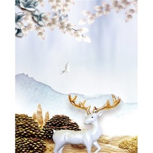 Laeacco Canvas Calligraphy Painting Nordic Fantasy Forest White Elk Posters and Prints Wall Art Pictures Living Room Home Decor